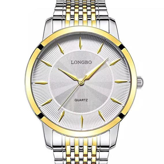 Relógio Longbo Masculino Prata Clássico Social Luxo Original