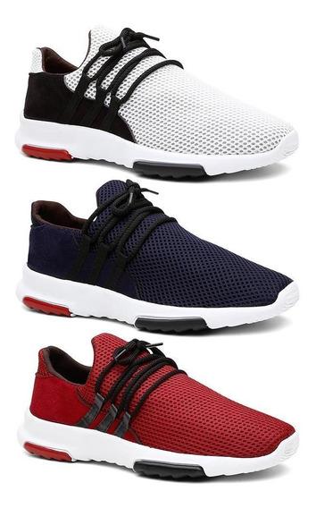 Kit 3 Pares Tênis Sneaker Masculino Caminhada Leve Conforto