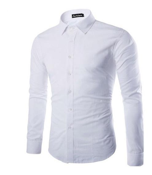 Camisas Elegantes Casual Slim Fit Manga Larga Para Hombres