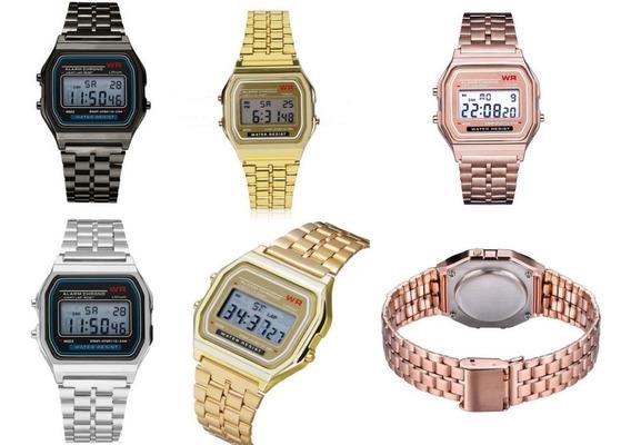 Relógio Feminino Dourado Vintage Retro Digital Barato Luxo