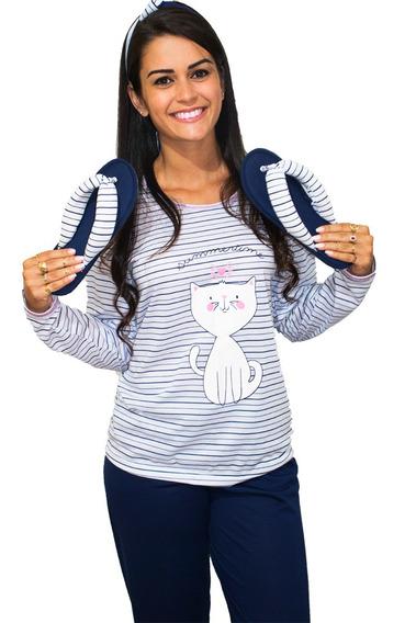 Pijama Minei Longo Fechado Feminino Comprida Inverno