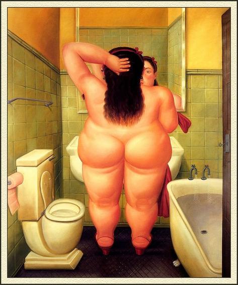 Cuadro Moderno Bastidor, El Baño, Fernando Botero, 50x60cm