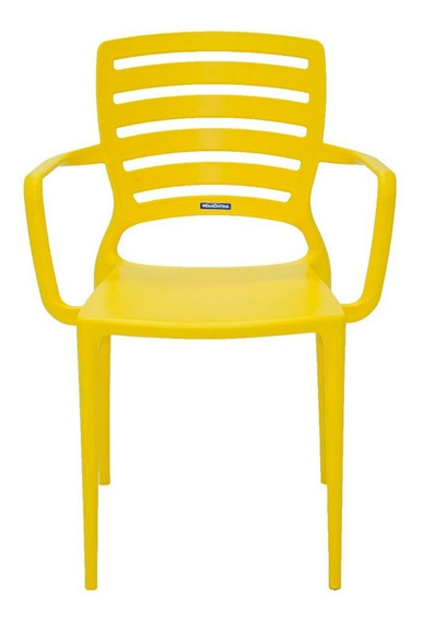 Cadeira Sofia Amarela Com Braço Encosto Vazado Horizontal Em