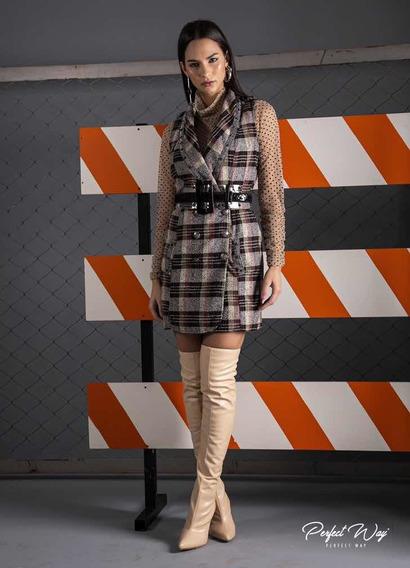 Perfect Way Vestido Curto Xadrez Transpassado + Cinto