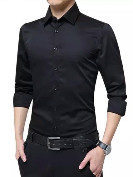 Camisa Manga Larga Unicolor Para Caballeros (15vrds)