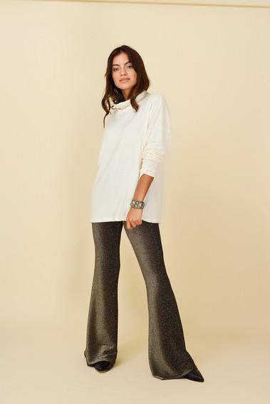 Pantalon Oxford Lurex Luna Oro Ugo Santini