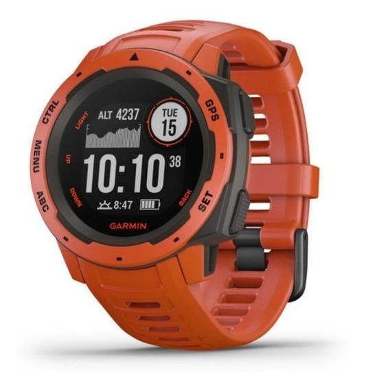 Relógio Multiesportivo Garmin Instinct Vermelho Com Monito