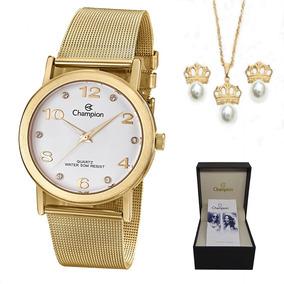 Relógio Champion Feminino Dourado - Cn29034w + Kit