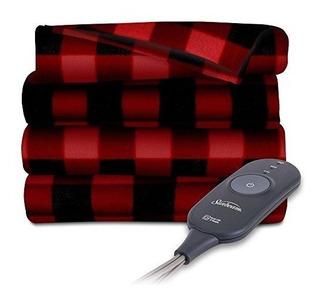 Sunbeam Calentador Electrico Throw Blanket Fleece Plaid Extr