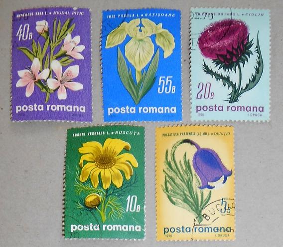 5 Estampillas Rumania Flores