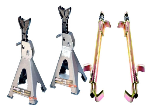 Kit X2 Caballete 3 Toneladas Eurotech + Prensa Espirales