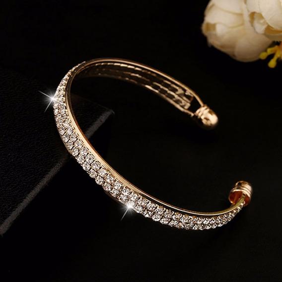 Pulseira Bracelete Banho Ouro Cristais Namorada Esposa Joia C148