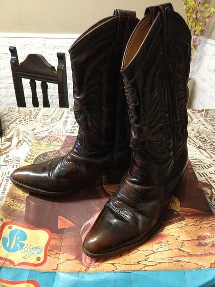 Botas Texanas Jr Hombre, Boots N* 42 De Cuero Usado