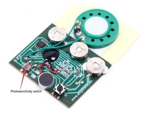 4 Gravador De Voz 30seg Tipo Carta Com Sensor Montado