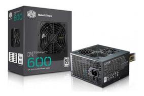 Fonte 600w Reais Masterwatt Lite Cooler Master 80 Plus Pfc