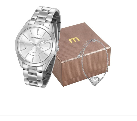 Relógio Mondaine Feminino Analógico + Pulseira 53690l0mgne3k