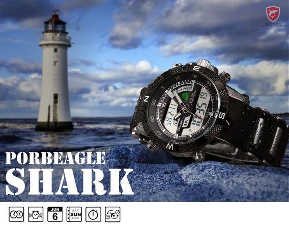 Relógio Shark Army Original - Porbeagle Sh042 Aço Inoxidável