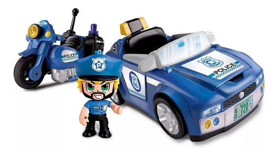 Pinypon Action Playset Policia Con Auto Y Moto