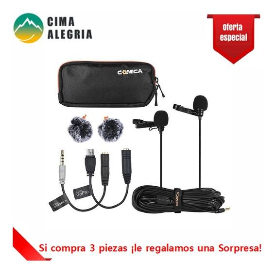 Comica Cvm-d02 Microfone Lapel Lavalier De Cabe?a Dupla Cond