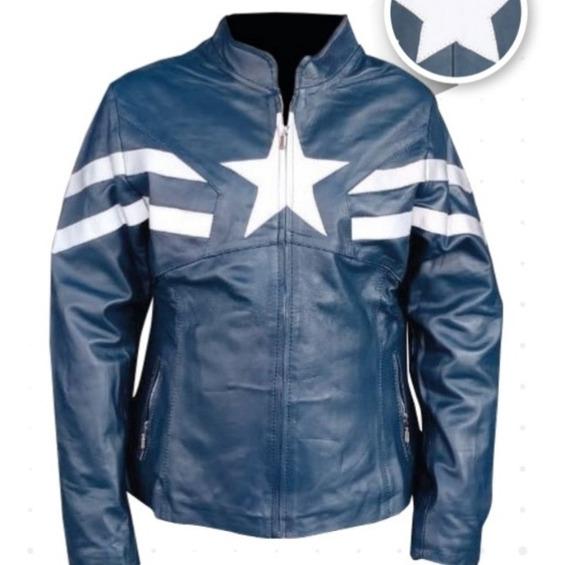 Chamarra En Piel De Dama Modelo Capitán América