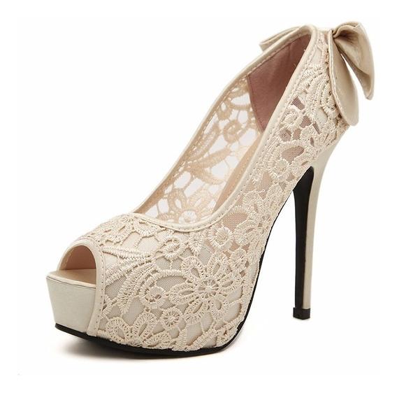 Sapatos Femininos Com Plataforma Salto Alto De Festa