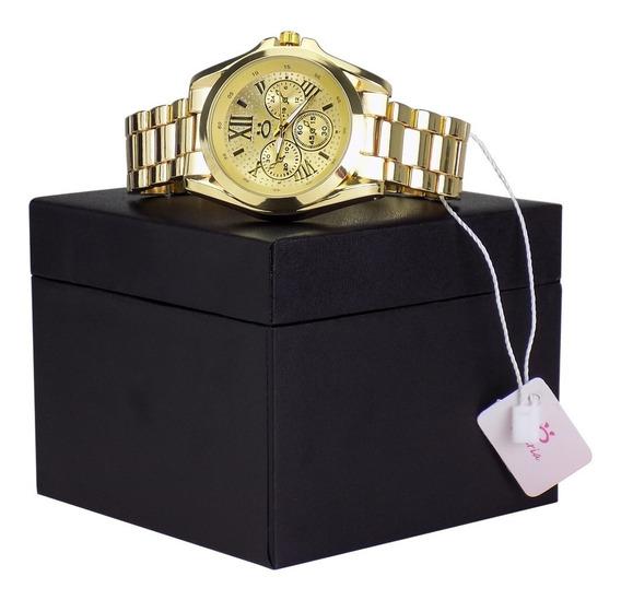 Relógio Dourado Feminino Original + Colar + Brincos - 3a51