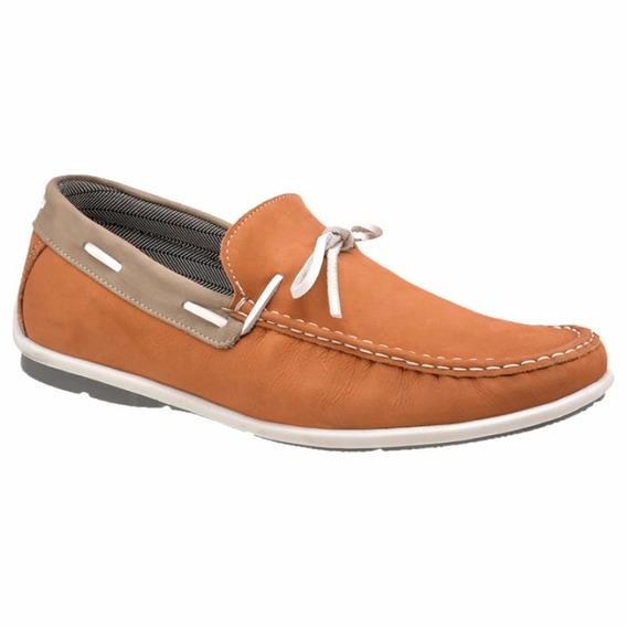 Mocassim 100% Couro Nobuck Masculino Sapato Casual Laranja