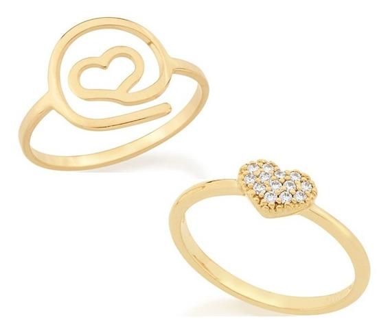 Kit 2 Anéis Folheados Ouro Coração Zircônias E Vazado Bonito