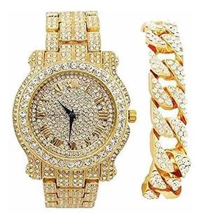 Reloj De Pulsera Blinged Out Round Luxury Para Hombre Con Pu