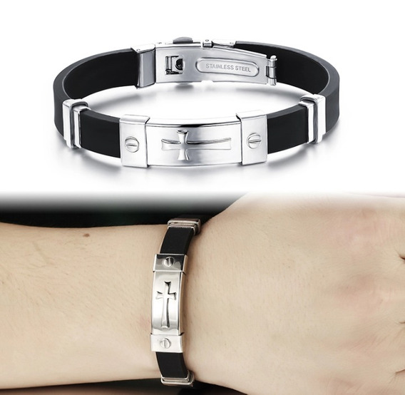 Bracelete Pulseira Detalhes Metal Couro