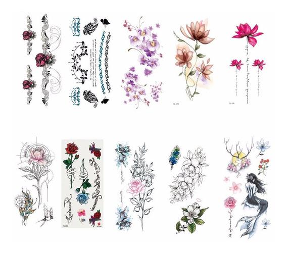 Tatuagens Temporário Animal Flor 3d Definir 10 Sheets Branco