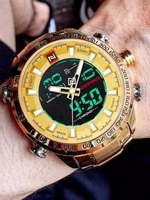 Relógio Masculino Militar Dourado Naviforce Original
