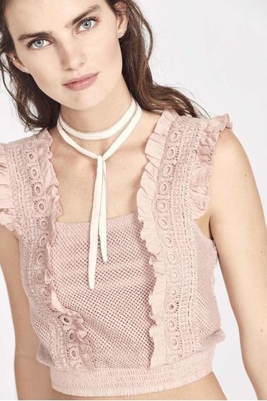 Rapsodia Top Ahmar Crop Encaje Rosa Pastel 2020