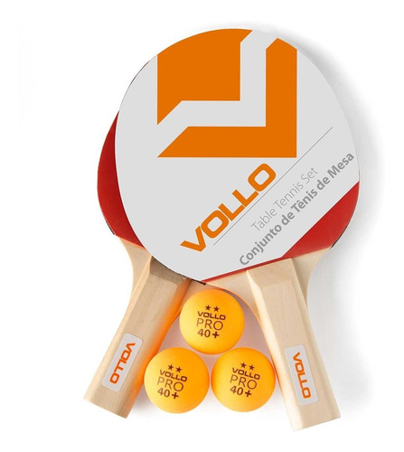 Imagem 1 de 1 de Kit Ping Pong Vollo 2 Raquetes 3 Bolas Tenis De Mesa