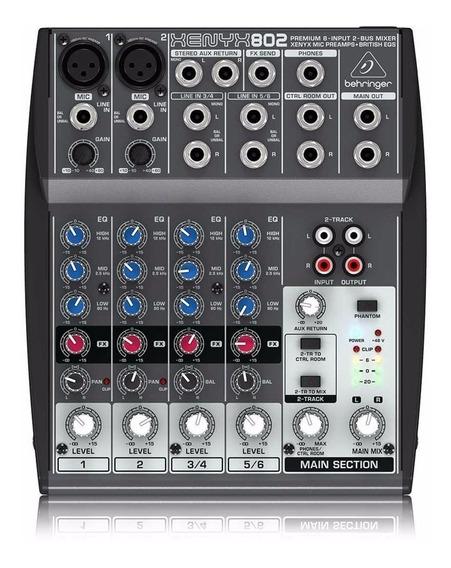 Mesa Som Behringer Mixer 8 Entradas Xenyx 802 110v Nfe Gar