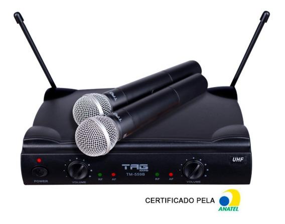 Microfone Sem Fio Duplo Uhf Bastão Tm559b Tag Sound Tagima