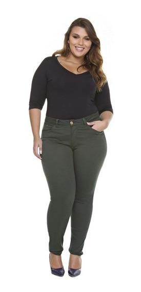 Linda Calça Plus Size Jeans Skinny Cintura Alta Lycra Flare!