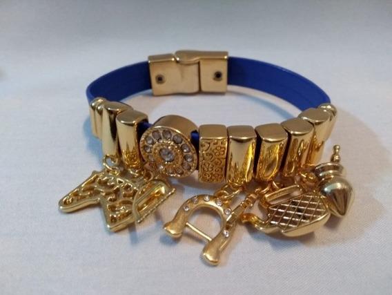 Pulseira Bracelete Flor De Lis Com Couro Semi Joia Numero 9