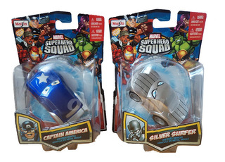 2 Super Hero Squad Cars Cap America Silve Surfer Maisto Md67