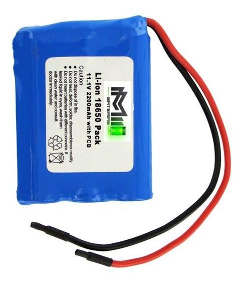 Bateria 11.1v 12v 3s 18650 2200mah Li-ion Sem Pcb