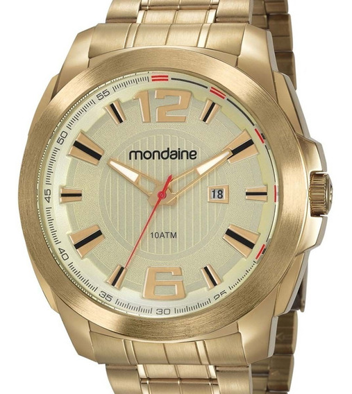 Relógio Mondaine Masculino 83425gpmvds1 Dourado + Nota