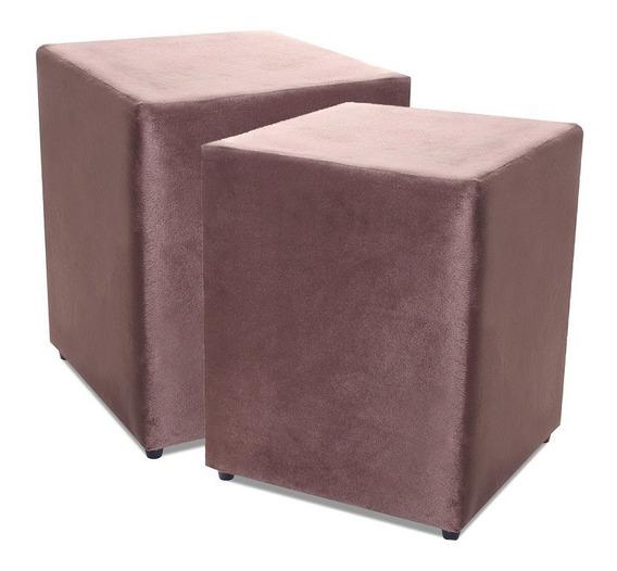 Kit Com 2 Puff Quadrado Suede Marrom Decorativo 35x35cm