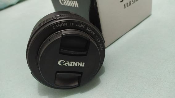 Lente Canon 50mm 1.8 Stm Nova Na Caixa
