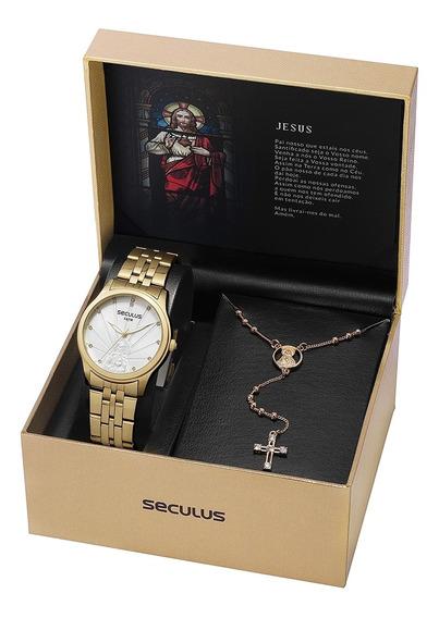 Relógio Seculus Feminino Kit Com Terço Semijoia 35006lpskda1