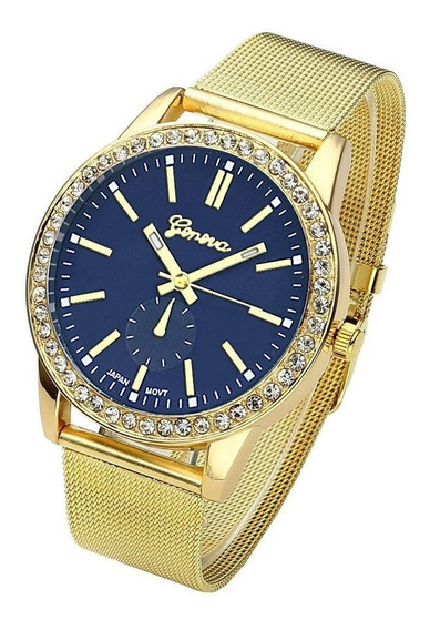 Relógio Feminino Geneva De Pulso Pulseira Aço Inoxidável