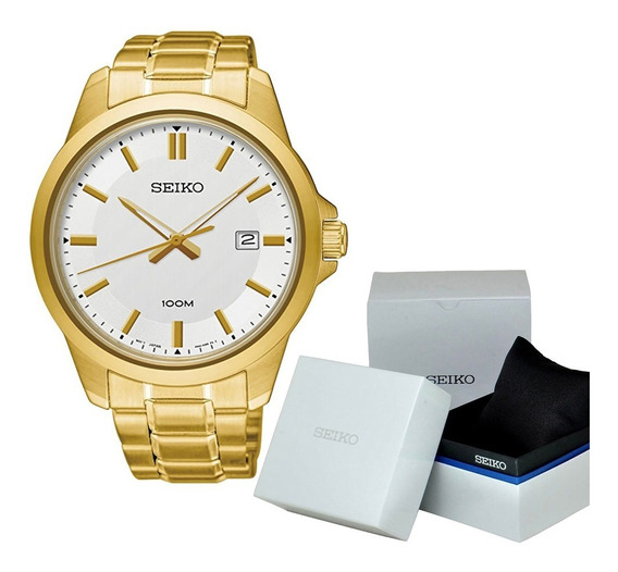 Reloj Hombre Seiko Dorado Sur248p1 Cuarzo Elegante Caballero