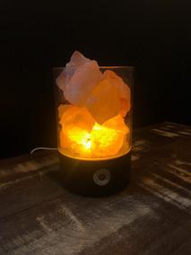 Luminária Sal Himalaia Cromoterapia Base Preta