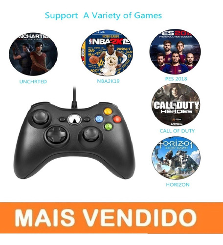 Controle Video Game Xbox 360 Com Fio Joystick Xbox360 E Pc