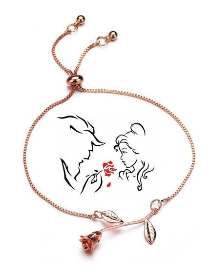 Pulseira Rosa Beauty Beast Rose Gold Bela E A Fera Ajustável