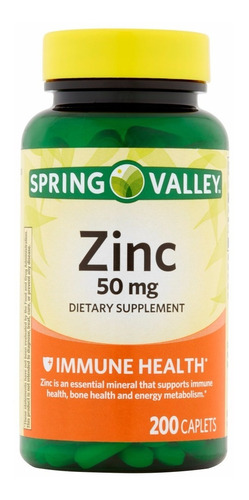 Zinc 50mg  Spring Valley - 200 Caps - Unidad a $350